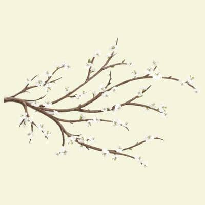 5 in. x 19 in. White Blossom Branch with Embellishments 31-Piece Peel and Stick Giant Wall Decal
