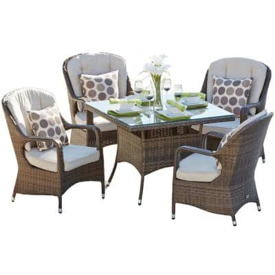 Belle Brown 5-Piece Wicker Outdoor Dining Set with Cushions