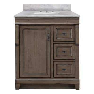 Naples 31 in. W x 22 in. D Bath Vanity in Distressed Grey with Right Drawers and Marble Vanity Top in Carrara White