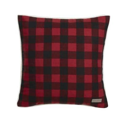 Cabin Red Plaid 20 in. x 20 in. Throw Pillow